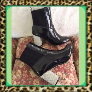 👑Bling heels Faux Patent Leather Ankle Boots